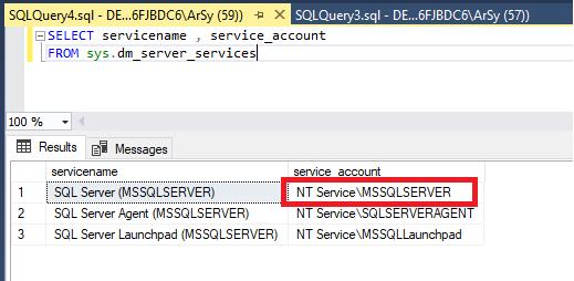 مشاهده اکانت اجرا کننده سرویس SQL Server