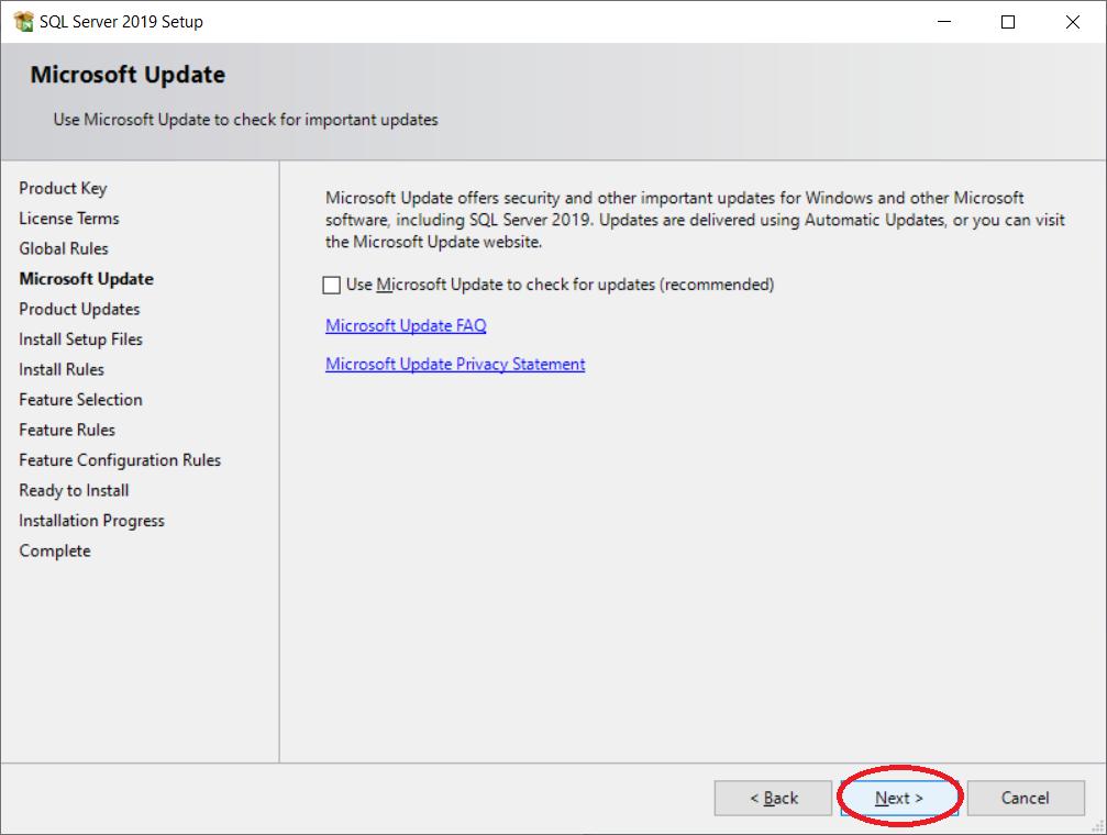 Uncheck Microsoft Update